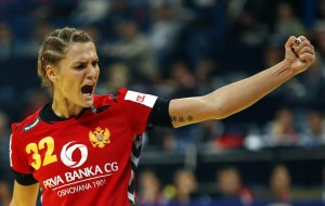 Montenegro's Bulatovic reacts after scoring against Norway during their women's European handball championship final match at the Kombank Arena in Belgrade