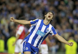 Porto's Sapunaru celebrates at the final whistle after beating Braga 1-0 in the Europa League final soccer match in Dublin