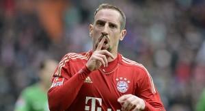 Bayern Munich's Ribery celebrates after scoringduring the German Bundesliga first division soccer match against Werder Bremen in Bremen.
