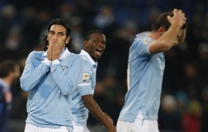 S.S. Lazio's Floccari reacts during the Italian Serie A soccer match against Napoli at the Olympic stadium in Rome