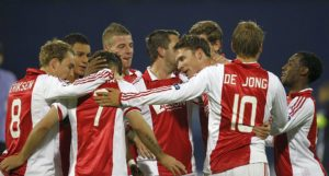 De Jong of Ajax Amsterdam celebrates after scoring against Dinamo Zagreb during their Champions League soccer match in Zagreb